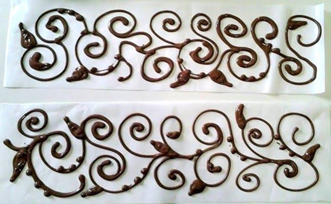Receita de Arabescos de chocolate para decoração de bolos