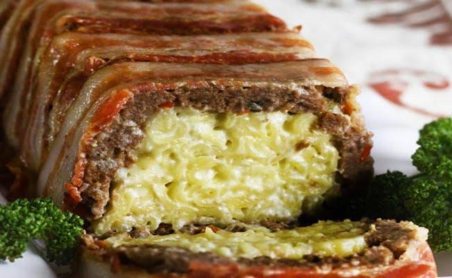 Bolo de Carne e Macarrão