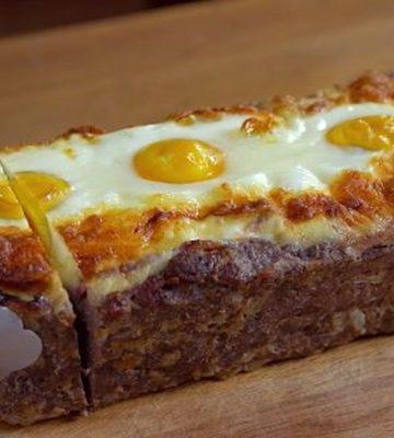 Receita de Bolo de carne recheado com ovos