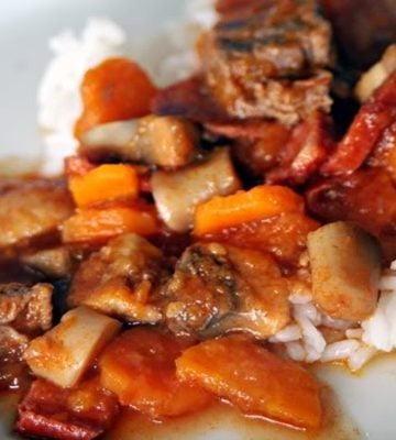 Receita de Estufado de Carne de Vaca com Tomate e Cogumelos