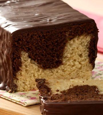 Pão bicolor de chocolate com baunilha de liquidificador