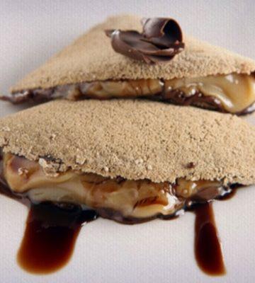 Receita de Tapioca de café com doce de leite e chocolate